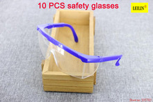 10pcs High Quality PC Eye Protector Impact resistant protective glasses goggles Dust storm cycling dustproof glasses safety work(China)