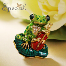 Special New Fashion Enamel Brooches Pin Lovely Frog Brooch Bouquet Animal Wedding Jewelry 2017 Gifts for Women S1611B(China)