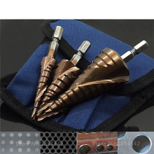 3Pcs Set HSS CO M35 Stainless Steel Metal Step Drill Bit Spiral Groove Cutter Drilling Hole Saw Tool Broca Metal And Blue Bag