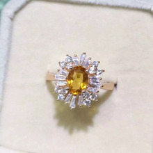 Natural citrine Ring Natural yellow crystal  Ring S925 sterling silver trendy Elegant  luxurious round women party gift Jewelry