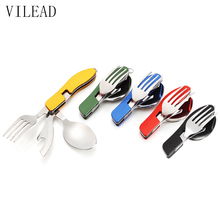 VILEAD Portable Folding Knife Fork Spoon Combined Camping Set Multifunctional Stainless Steel Outdoor Tableware for Picnic(China)