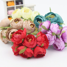 6pcs/Lot Artificial Rose Silk Flower Peony Flowers Wedding Bouquet Wedding Bridal Decor Rose Flowers For DIY Scrapbooking