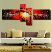 4153 Free Shipping Handpainted 4 Piece Modern Abstract Sun Background Peacock Wall Art Oil Painting On Canvas For Home Decoratio(China)