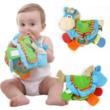 0-12M Baby Rattles Teether Toys Cute Donkey Animal Cloth Book For Toddlers Learning early Education Toys Christmas Gift new