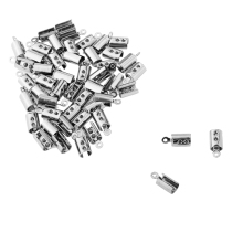 Jewelry Supplies Stainless Steel Half-open Necklace Crimp End Jewelry Findings Silver Tone 50PCs