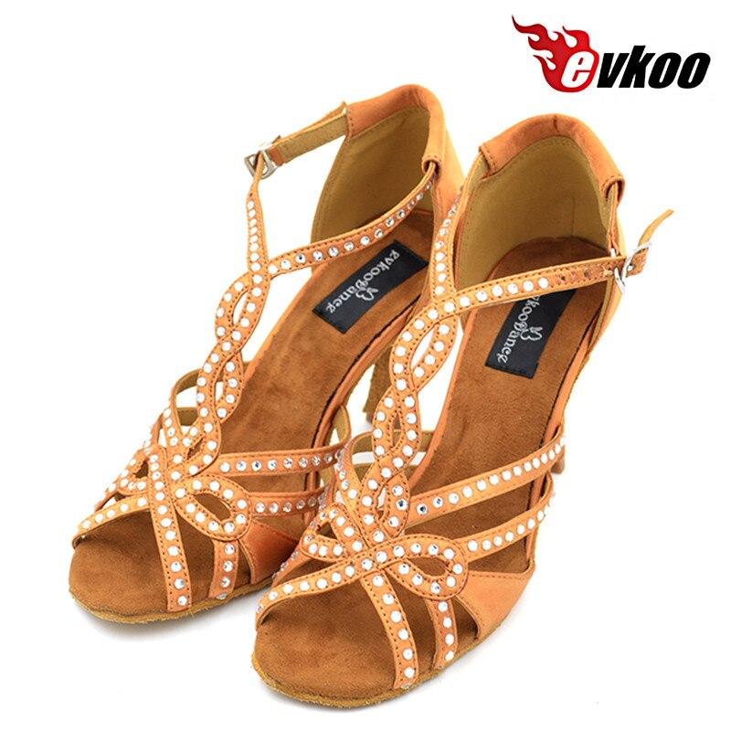 Womans Latin ballroom tango salsa dance shoes black brown color 8cm heel free shipping evkoo-066<br>