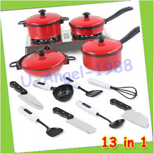 Free shipping 13 Set Kids Child Children Pretend Play Education Learn Kitchen Tool Accessories Cookware Pot Pan Toy