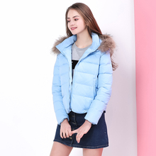BIBOYAMALL Winter Down Jacket for Women 90% White Duck Down Parkas Fur Hooded Coats Warm Casual Blue Snow Outwear Female Jacket(China)