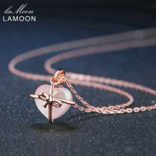 LAMOON Fine Jewelry Chain Necklace 9x10mm Natural Heart Gemstone Rose Quartz 925 Sterling Silver Rose Plated LMNI016(China)
