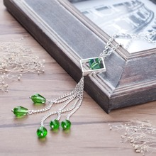"Doreen Box New Fashion Jewelry Handmade Necklace Silver color Rhombus Tassel Pendant Green Beading 47.5cm(18 6/8"") long, 1 PC"