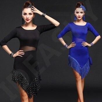 lady latin skirt dancing long sleeved salsa fringe dance costumes ballroom tango dresses adult cha cha wear for women sequin