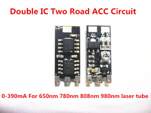 Double IC Two Road ACC Circuit laser Dode Driver Board 650nm 2.8-5v Adjustable Constant Current 0-390mA 780nm 808nm 980nm laser