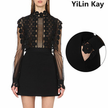 New Arrive Fashion 2017 Summer Dress Designer Runway Dress Women's Long Sleeve Hook Flower Hollow Out Mini Dresses Black Dress