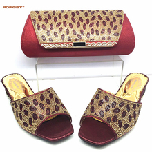 Wine Hot Sale Fashion Woman Sandals Shoes and Bag Set New Italian Design High Heels Shoes And Bag Set For Party Dress