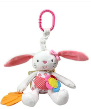 New Baby Toy Soft Plush Rabbit Baby Rattle Ring Bell Crib Bed Hanging Animal Toy Teether Multifunction Doll(China)