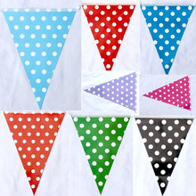 2pcs 2.5m Polka Dots Bunting Garland Party Decoration Outdoor Plastic Bunting Flags Birthday Decoration Hanging Triangular Flag(China)