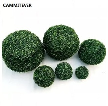 CAMMITEVER Grass Bonsai Artificial Topiary 12/18/23/28/35cm Green Simulation Ball Shop Mall Supplies Indoor Outdoor Decoration(China)