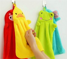 1PC Cartoon Animal Hand Towel Soft Plush Fabric Hanging Wipe Bathing Towel Nursery Kids Baby 233