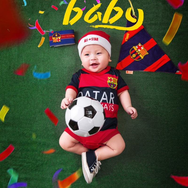 Baby Photo Shoot Football Theme Clothes and Blanket Set Infant Baby Boy Picture Photography Props Sport Backdrop fotografia Prop