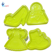 Most Popular 4Pcs/Set Fashion Girl 3D Dough Cutter Cake Decorating Tool Cake Mold Fondant Cutter Mini Bakeware Pastry Tools(China)