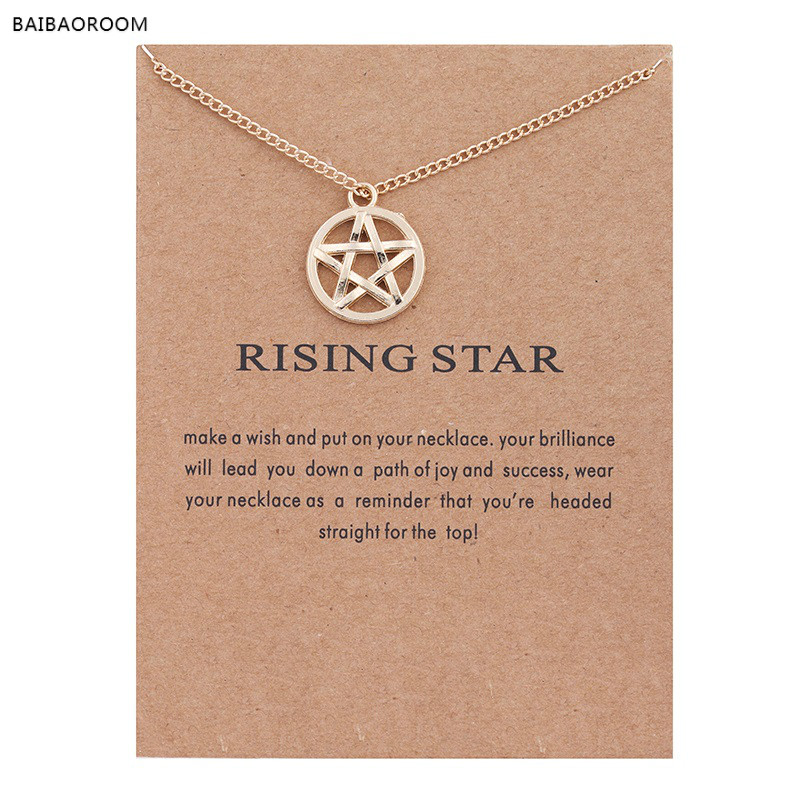 New Gold Plated Circle Five Pointed Rising Star Alloy Clavicle Snake Pendant Short Necklace