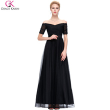Black Bridesmaid Dresses Grace Karin Tulle Off Shoulder Long Formal Gowns Elegant Modest Red Wedding Party Dress With Sleeves