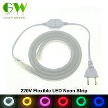 LED Neon Strip AC220V 120 LED/Meter 2835 Flexible Neon Light Waterproof Outdoor Decorative LED Strip with Power Plug.
