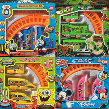 1 set Thomas And Friends Electric Track Train Spiderman Snow White Minnie Mickey Train Color Box Packing Kid Gift Toy