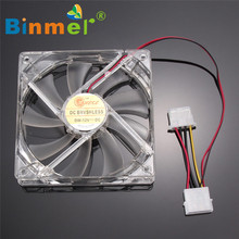 Hot-sale BINMER 120 x 120 x 25mm 4 Pin Computer Fan Colorful Quad 4-LED Light Neon Clear 120mm PC Computer Case Cooling Fan Mod