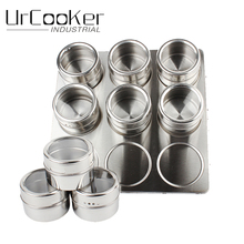 9pcs/Set High Quality Useful Spice Stainless Steel Magnetic Cruet Condiments Spice Rack Pots Set For Spice(China)