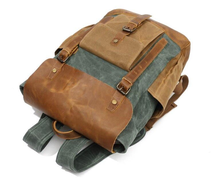 Men Backpack Waterproof Computer Laptop Bag Vintage Canvas Large Capacity Travel Backpacks Leather Military Male Backpack School