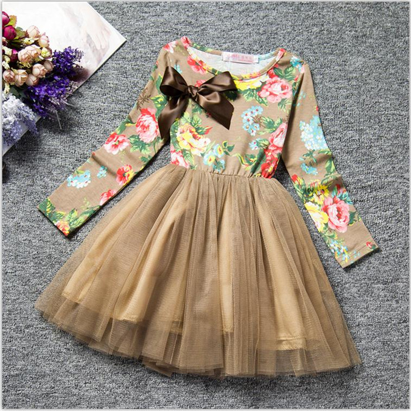 Kids Dresses for Girl Floral Princess Girl Dress Children Clothing Winter Toddler Baby Outfit Clothes Brand Party Tulle Costume 3
