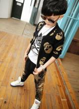 Retail 2017 new arrivals autumn children boys coat+pants 2pcs fashion golden skull casual sport sets size 90-140cm N4403(China)