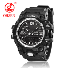 OHSEN Brand 2017 Top Sport New Cheap Electronic Wrist Watches For Men Masculino Relogio Calendar Alarm Clocks Silicone Watchband