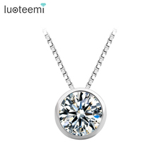 LUOTEEMI High Quality 1 Carat Single Clear Cubic Zirconia S925 Sterling Silver Jewelry Bridal Engagement Silver Pendant Necklace