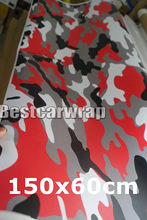 2 pcs 150x60cm Red white black Matt Arctic Camouflage Vinyl Car Wrap Film For Car & motorcycle Covering Film Vehicle graphics(China)