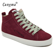 CANGMA Original Brand Shoes Woman Wine Red Cow Suede Female Breathable Genuine Leather Sneakers Flats Womens Mid Leisure Shoes