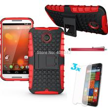 For Motorola Moto X2 2014 XT1095 Protective Armor Shock Proof Hybrid Stand Dual Cover Case+stylus+screen protector(China)