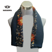 [DARIAROVA]High Fashion Winter Floral Embroidery Scarf Wrap Women Warm Cotton Shawls Scarves Embroidered Hijab Scarf From India