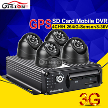 Realtime Video 3G GPS SD Card Mobile Dvr Kits +4PCS MINI Indoor Cameras CCTV  Real Time Surveillance System Software Free