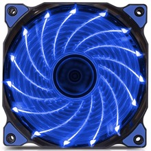 120mm PC Computer 15 LEDs 12V Case Fan Heatsink Cooler Cooling with Anti-Vibration Rubber,12CM Fan(China)