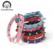 Bruce&Williams Punk Style Spiked Dog Collar PU Leather Bling Dog Collar Adjustable Cat Collars Dog Round Bullet Necklace DC0325