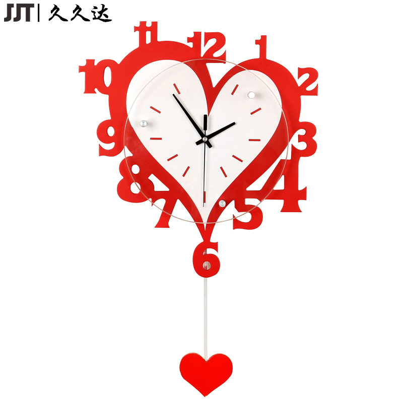 Wooden Cartoon Home Decoration Heart Pendulum Wall Clock For Living Room Silent horloge murale salon(China)