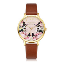 Cheap Hot Sale Watches Women Quartz Wristwatch Female Clock Vintage Floral Print PU Leather Ladies Gift Watches Relogio Feminino