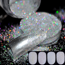 Reputation Clear Acrylic UV Nail Art Glitter Powder Dust Tips Decoration Laser Sparkly Silver Makeup Glitter Art Tips Decor