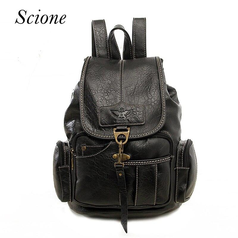 Hot Vintage Women Backpack School Bags for Teenage Girls Men Travel Backpack Shoulder Bag Leather Laptop Rucksack mochila 120194<br>