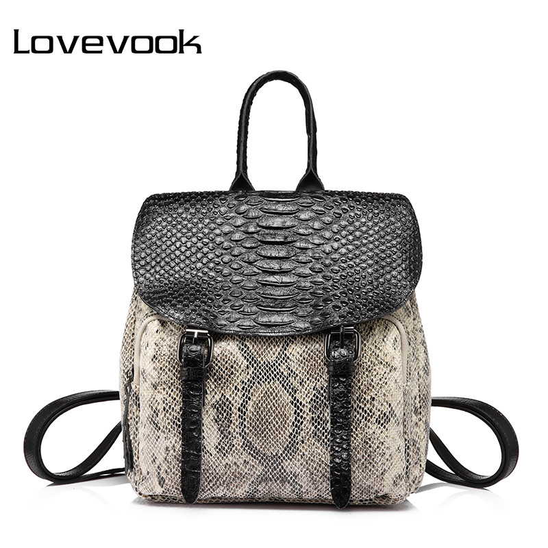 LOVEBOOK brand fashion women backpack good quality female shoulder bag with serpentine prints mini backpack for teenage girls<br>
