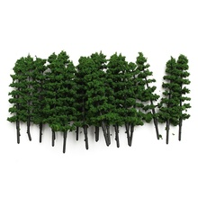 KiWarm 20Pcs Green Fir Trees Model Train Railway Forest Street Scenery Layout For Sand Table Garden Micro Landscape Home Decor