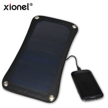 Xionel 6.5W Solar Panel Ultra-slim Highest Efficiency Portable USB Solar Charger For iphone ipad, ipod, Mobile Phone,Camera(China)