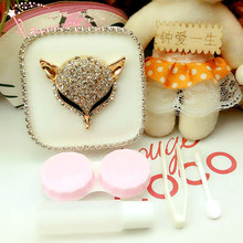 LIUSVENTINA DIY alloy Diamond fox leopards contact lens case for eyes contact lenses box for glasses